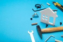 Building architect concept, construction home. Copy space for text royalty free stock photo