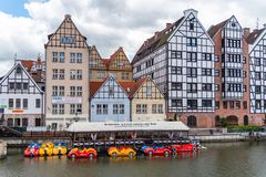 Building and architecture on the Motlawa river in Gdansk Poland royalty free stock photo