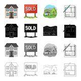 Building, architecture, office, and other web icon in cartoon style. Realtor, signboard, stand icons in set collection. Building, architecture, office, and Stock Images