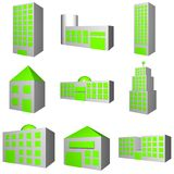Building Architecture Set in 3. A set of buildings with different architectures in gray vector illustration