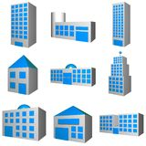 Building Architecture Set in 3d. A set of buildings with different architectures stock illustration