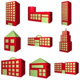Building Architecture Set in 3d Red. A set of buildings with different architectures in red stock illustration