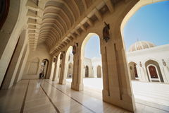 Building with arcs inside Grand Mosque in Oman Royalty Free Stock Photos