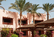 building area and the hotel's palm trees in Hurghada. Egypt. Th stock photography