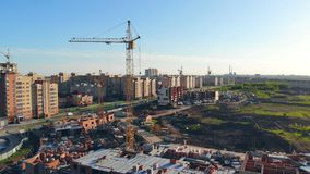 Building area with special machinery equipment in it. Real estate concept. Construction site directly from above. Building area with special machinery equipment stock footage
