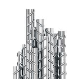 Building armature steel bars stack on white background. Reinforcing steel bars stacked group. Metal building armature on white background. 3D illustration stock illustration