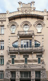 The building in Art Nouveau style, Riga. Facade fragment of art Nouveau style house in the Centre of Riga, Latvia (Albera Street 4&#x29 Stock Images