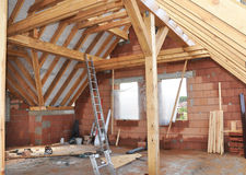 Building Attic Interior. Roofing Construction Indoor. Wooden Roof Frame House Construction Stock Photos