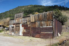 Building Awaiting Restoration in Mogollon NM Ghost Town. The town is actually having some buildings restored, including the church.  It is in southern NM up a 9 Royalty Free Stock Image