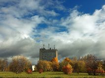 The building on the background of a beautiful autumn landscape stock photos