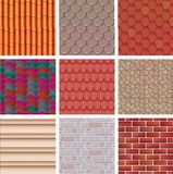 Building background wall texture architecture brickwall or stonewall with textured roofing tile and brickwork to build. Bricklaying and tiling roof backdrop or Stock Images