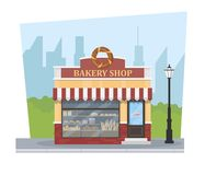 Building bakery with a city landscape and a lantern. Bakery shop. Vector illustration Stock Image