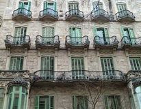 Building balconies in Barcelona Stock Images