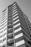 Building with balconies. Black and white image Royalty Free Stock Images