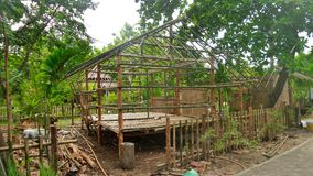 Building a bamboo hut in tropical forest in Thailand Royalty Free Stock Photos