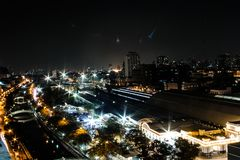 Building in Bangkok at night time. Concept dark sky at city. Building in Bangkok at night time. Concept dark sky at city or Concept night life in Thailand Royalty Free Stock Photography
