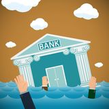Building of the bank drowning in the sea. Bankruptcy and financi. Al economics. Stock  illustration Royalty Free Stock Photos