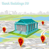 Building of bank and location their on city map Royalty Free Stock Photography