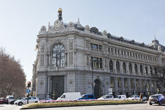 Building the Bank of Spain in Madrid Royalty Free Stock Photography