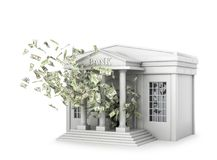 Building of the bank, from which the money flies. 3d illustration Royalty Free Stock Photos
