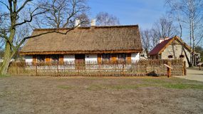 Building, barn, open-air museum in the village - reconstruction of IXX century Stock Images