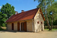 Building, barn, open-air museum in the village - reconstruction of IXX century Stock Photo