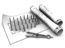 Building base blueprints Royalty Free Stock Image