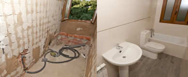 Building a bathroom before and after Stock Image
