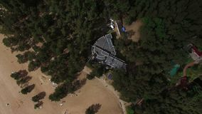 Building on a beach aerial. Shot stock video footage