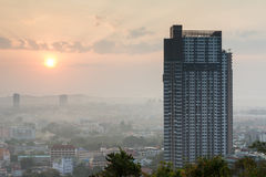 Building with beautiful skyscrape during sunrise at Pattaya city, Thailand Royalty Free Stock Image