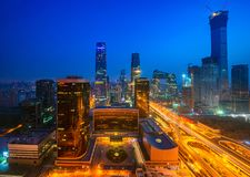 Building in Beijing city in night time, Beijing royalty free stock images