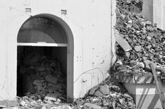 No access - demolition. A building being wrecked with a detail of the entrance royalty free stock photography