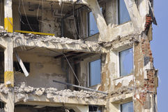 Not for living - demolition. A building being wrecked with some relicts of the interior hanging around stock photos