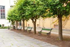 Building in Norsk Folkenmuseum. Building, benches and trees in Norsk Folkenmuseum royalty free stock images