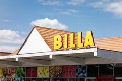 Building of the Billa supermarket in Hlucin stock photos