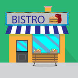 Building bistro cartoon style. Cafe facade, shop and food, burger tasty. Vector art design abstract unusual fashion illustration Stock Photo