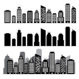 Building black and white icon set. stock illustration