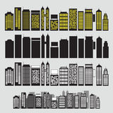Building black and white icon set vector Royalty Free Stock Image