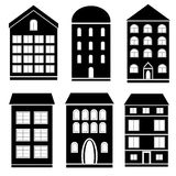 Building black and white set. Set of black and white buildings Royalty Free Stock Images