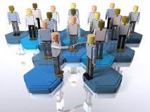 Building block figures shaking hands vector illustration