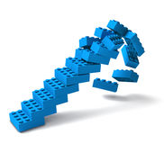 Building block stairs collapsing 3D. Toy building block stairs collapsing, failing concept 3D Royalty Free Stock Images