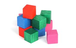 Building block toys. On white royalty free stock image