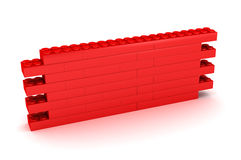 Building Block Wall. A Colourful 3d Rendered Illustration of a Red Building Block Wall Stock Image