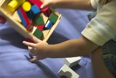 Building Blocks. A little boy building his blocks Stock Photos