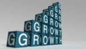 Building blocks. Spelling the word growth royalty free illustration