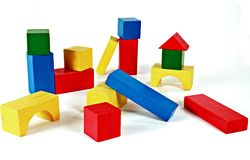Building blocks. Children's colorful building blocks royalty free stock photography