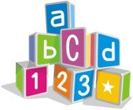 Building Blocks. Colorful three dimensional kids educational blocks on white background Stock Image
