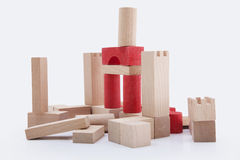 Building blocks. Brown and red isolated on white background stock photos