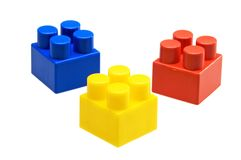 Building blocks. Isolated blue, yellow, red toys blocks Stock Image