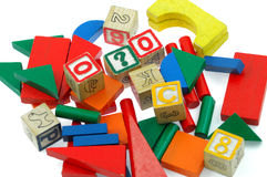 Building blocks. The children are very bright color blocks Royalty Free Stock Images